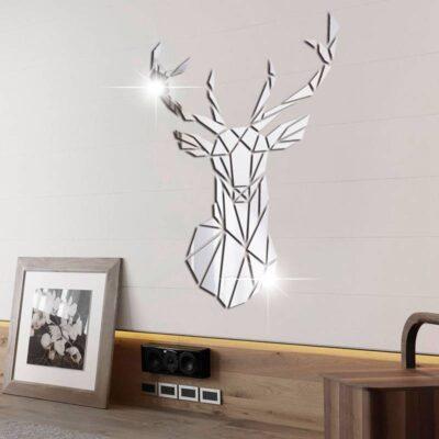 3D Deer Mirror Wall Sticker