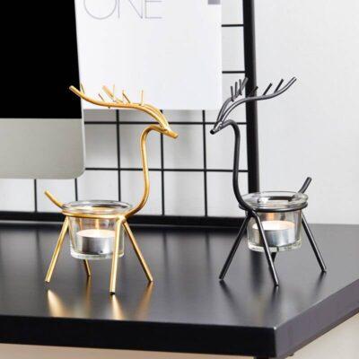 Golden Elk Candle Holder