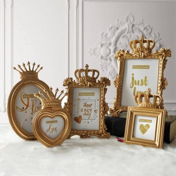 Luxurious Golden Crown Photo Frame