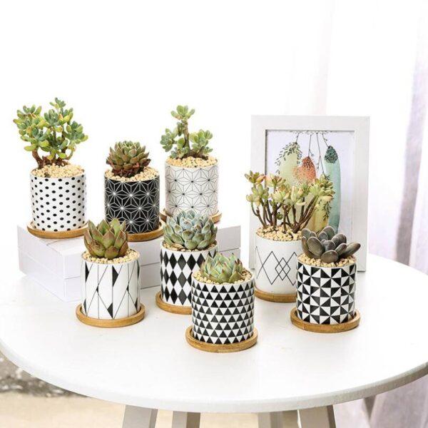 Modern Geometric Pattern Ceramics Flower Pot