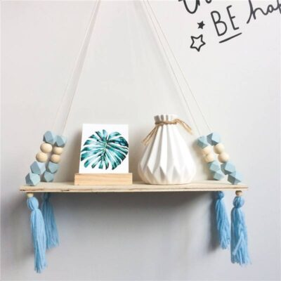Wall Hanging Wooden Shelf with Beads