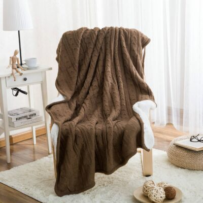 Wool Knitted Winter Throw Blanket