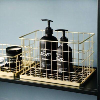 Golden Metal Storage Basket